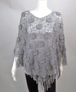 Gray Poncho Knit