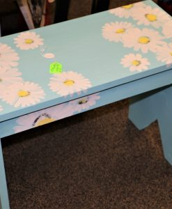 Hand-Painted Sky-Blue Bench with Daisies